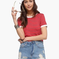 Red Striped Cropped T-shirt