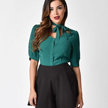 Voodoo Vixen 1940s Style Green Sleeved Clara Tie Top