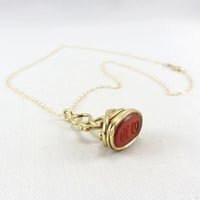 Antique Victorian 18K Carnelian Intaglio Pendant 1800s Fob Charm Necklace OH Initial Monogram Yellow Gold Fine Jewelry