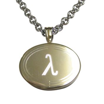 Gold Toned Etched Oval Greek Letter Lambda Pendant Necklace