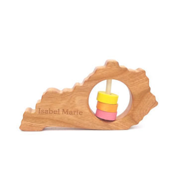 Kentucky Baby Rattle - Modern Wooden Baby Toy - Organic and Natural