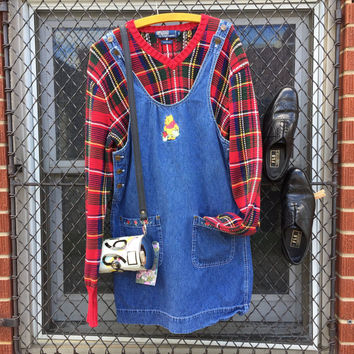 cecb1945f6465 vintage 90s Disney store Pooh denim dress with Pooh and floral embroidered  patch pockets and POOH