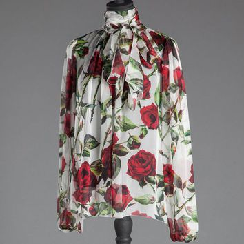 Rose print chiffon shirt with bow | dolce&gabbana online store