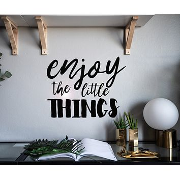 Vinyl Wall Decal Enjoy The Little Things Inspirational Phrase Words Stickers Mural 22.5 in x 17 in gz144