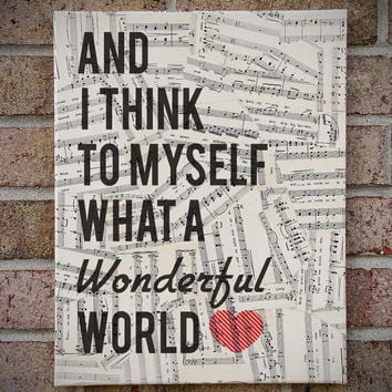 Vintage Sheet Music Lyrics Canvas Wall Art - What A Wonderful World - Louis Armstrong