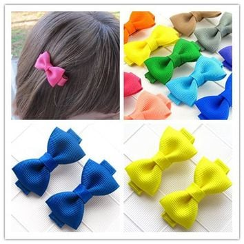 Solid fashion baby girl ribbon mini hair clip pin accessories for children