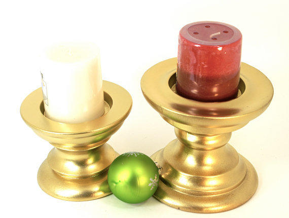 """Gold Pillar Candle Holders Set of 2  """"Up-cycled"""" Short Chunky Pedestal Style Hand Painted Holiday Decor"""