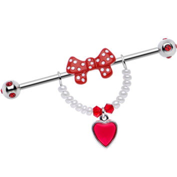 Handcrafted Red Gem Retro Sweetheart Red Bow Heart Industrial Barbell | Body Candy Body Jewelry