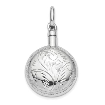 Sterling Silver RH-plated Polished Screw Top Ash Holder Pendant QC9176