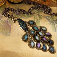 Lovely Peacock Necklace ,colorful crystal feather Vintage style