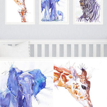 Safari Nursery Art, Set of 3 prints, Watercolor painting ,Boy Girl Nursery Decor, Mother And Baby Animals , Gift for new Mom, Jungle Animal