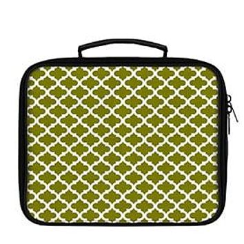 Quatrefoil Pattern White on Solid Lunch Box