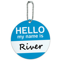 River Hello My Name Is Round ID Card Luggage Tag