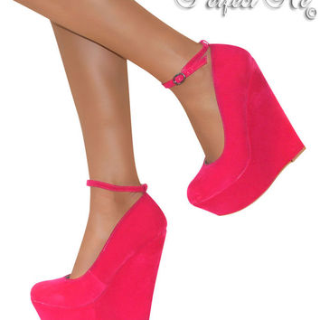 LADIES PINK HIGH WEDGE HEELS PLATFORM STRAPPY PARTY SHOE SANDAL ANKLE PROM SIZE