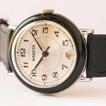 Vintage wrist watch Raketa men's watch silver shiny face watch black white watch