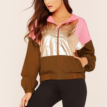 Zip Up Metallic Colorblock Windbreaker Hoodie