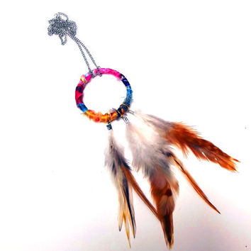 Fabric Hoop and Rooster Feather Necklace by Beatniq on Etsy