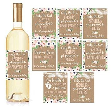8 Pregnancy Announcement Gifts Announcing New Baby Reveal Funny Wine Bottle Labels or Stickers For Parents to Grandparents Brothers Sisters Promoted to Aunts Uncles Surprise Best Friends Expecting