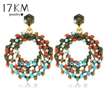 2014 Colorful Bohemia Luxury Romantic Retro Gorgeous Elegant Hollow Brilliant Rhinestone Round Beads Earrings for women M11