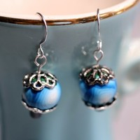 Earrings Blue LIke The Ocean Polymer Clay Cane