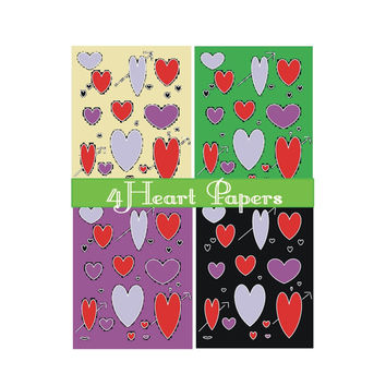 Instant Printable Heart Papers / Four Pages / Card Making / Decoupage / Art Projects / Scrap Book Art / Book Covers / Bookmarks / Magnets /