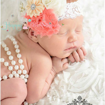 Coral White Lace headband, Coral Headband, white headband, newborn headband, baby girls headband, birthday headband, flower girl headband