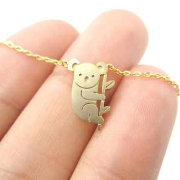Jisensp 2017 Small Koala Bear and Branch Shaped Necklace Women Animal Charm Cute Pendant Simple Long Necklace N136
