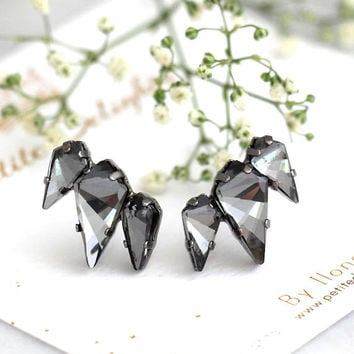 Black Earrings, Black Climber Earrings, Bridal Black Earrings, Gray Earrings, Gothic Studs, Gift For Her, Black Crystal Geometric Earrings