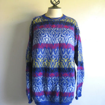 Vintage 1970s Mens Sweater United Colors of BENETTON Blue Aztec Knit Jumper XXL