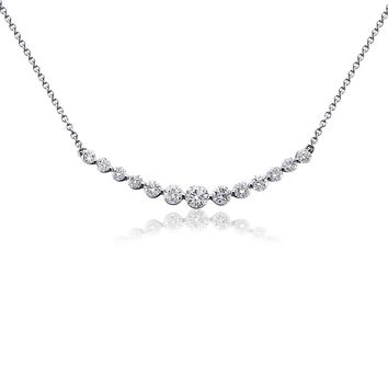 Curved Diamond Necklace in 18k White Gold (1 ct. tw.) | Blue Nile
