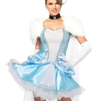 The 3PC. Slipper-less Sweetie, Dress, Attached Fur Caplet, Choker, Head Piece in Blue and White