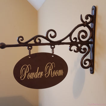 Custom Large Oval Shaped Metal Sign and Bracket - Powder Room, Laundry, Office, Pantry