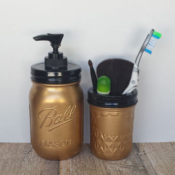 Metallic Gold Bathroom Mason Jar Soap Pump and Small Storage Jar, Glam Chic Mason Jar Bathroom Set of 2, Mason Jar Lotion Dispenser