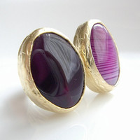 Amethyst stone Dual GOLD RING by PeriayJewelry on Etsy