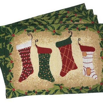 Tache 4 Pieces Festive Hang My Stockings By the Fireplace Placemat (DB12910PM-1319)