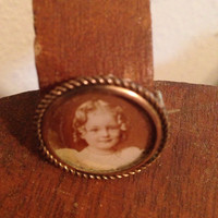 Antique Small Photograph Copper Brooch Pin and Hook Fastener Cepia Color Little Girl Ringlets In Hair Collectible Adopt an Ancestor Picture