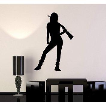 Vinyl Wall Decal Silhouette Sexy Girl Woman with Gun Stickers Unique Gift (ig4201)