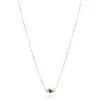 Small evil eye gold vermeil necklace with green stone