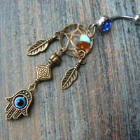 hamsa hand dreamcatcher belly ring protection hamsa hand in belly dancer indie gypsy hippie morrocan boho and hipster style