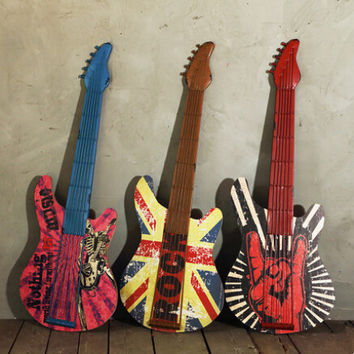 Imitation Guitar Wall Decoration, Iron Rock N' Roll Guitars for Wall Art Hanging, Music Guitar Home Decor