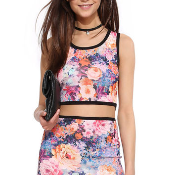 Floral Print Sleeveless Bodycon Crop Top