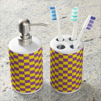 Checkered Purple and Yellow Soap Dispenser And Toothbrush Holder