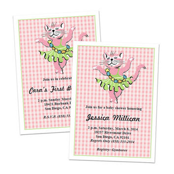 Digital DIY Retro Baby Girl Shower Invitation / Birthday Invitation / editable PDF / add your own text / personalize it / pink cat ballerina