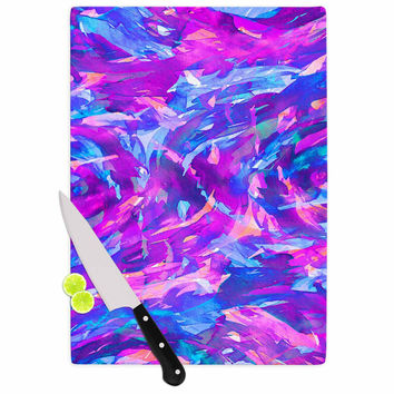 "Ebi Emporium ""Motley Flow 2"" Purple Blue Cutting Board"