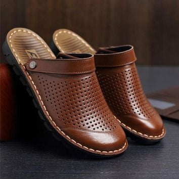 Men's Cheap Microfiber Slippers size 48 Genuine Real Leather Back strap Rivet Flat Cut-Outs Beach Sandals Shoes Flip flops Camel
