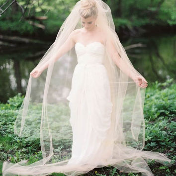 Blush wedding veil, two tiers, custom-made