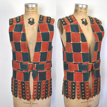 Studded Leather Vest / 60s 70s festival patchwork Top / M-L
