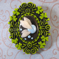 Hey, listen. Blue fairy cameo brooch. Polymer clay. Legend of Zelda inspired. Video game, geek jewelry.