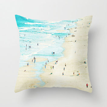 Teal Throw Pillow, Beach Throw Pillow, Beach Theme Pillow, nautical Design, Beach Hut Decor, 18x18, 16x16