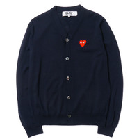 Worsted Wool Jersey Intarsia Red Emblem Cardigan Navy
